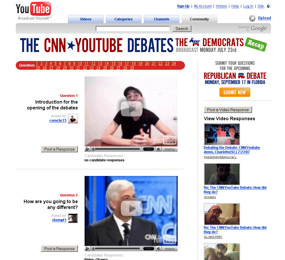 CNN/ YouTube Debate Responses Live