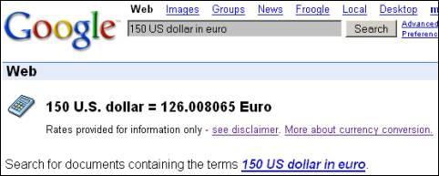Google koers omrekening