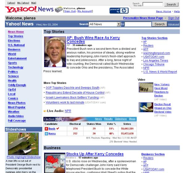 Bush Re-election Frontpages   Yahoo Germany Predicts the ...