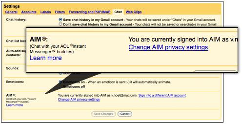 Gmail podporuje AIM/ICQ