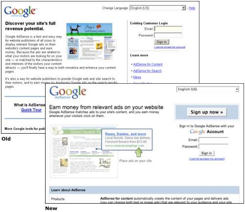 Google AdSense Login Redesign