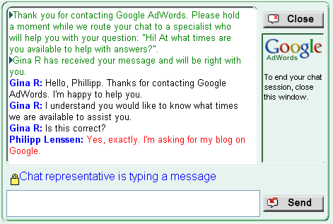 google support live chat