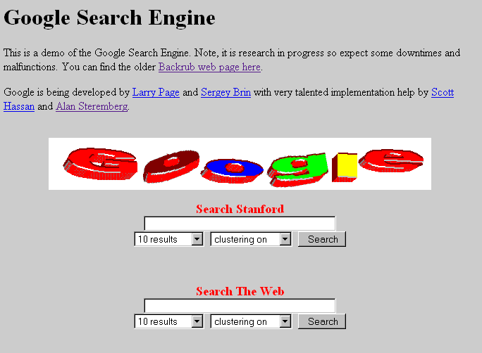 "google 1996 logo. ""the Google Search Engine"