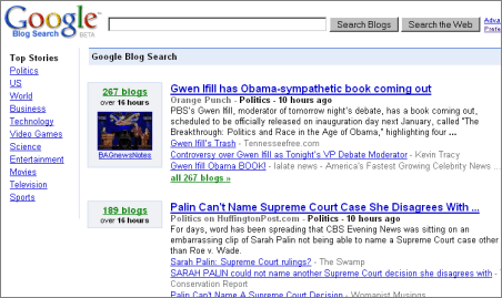 google blog search. As of recently the Google Blog