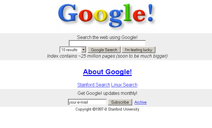 How did the Google homepage change over time?