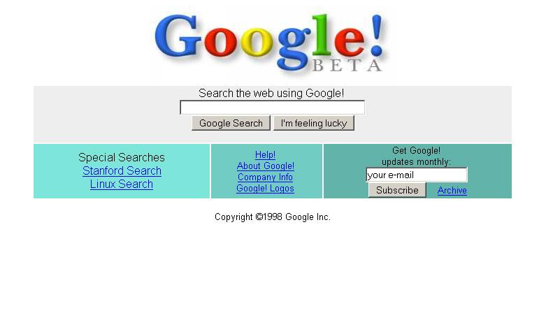 Google in 1998 homepage