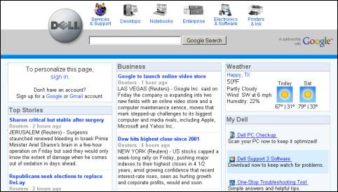Personalized Google/ Dell Homepage