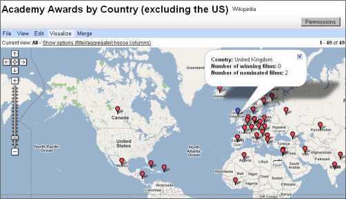map visualization of data google spreadsheets has a related feature via insert gadget maps
