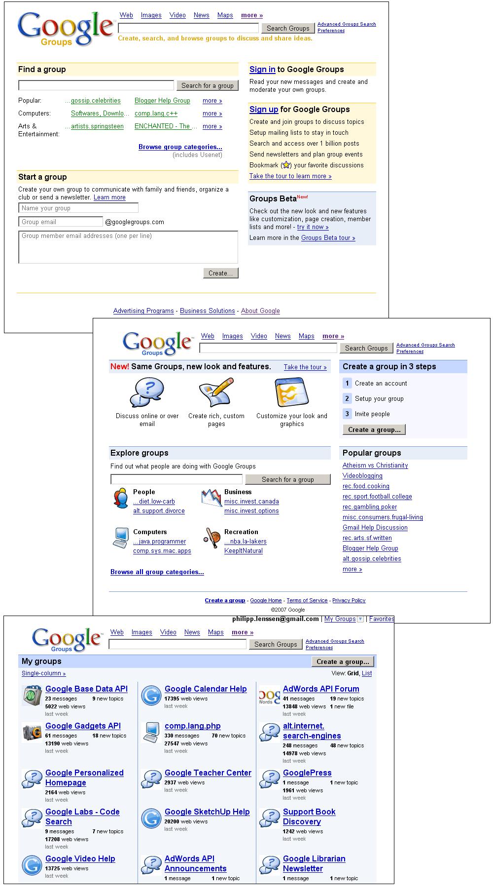 Google论坛界面变化图