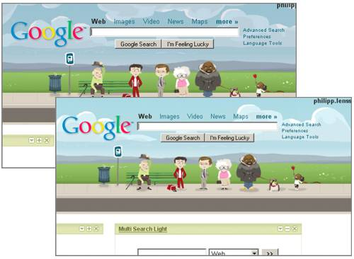 google personalized homepage themes
