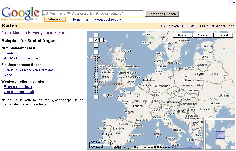Localized Google Maps - Germany map google