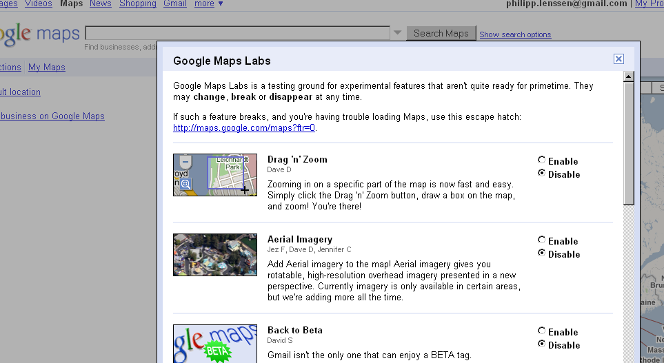 Google Maps Labs