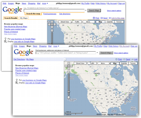 Glimpses of a Google Maps Redesign