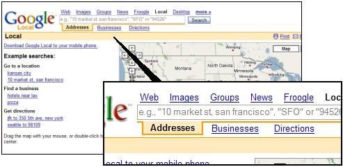 Google Maps Tabs