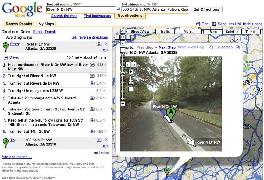 get directions with google maps street view