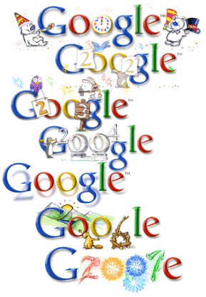 new year's logo design from Google, along with the 2005 one