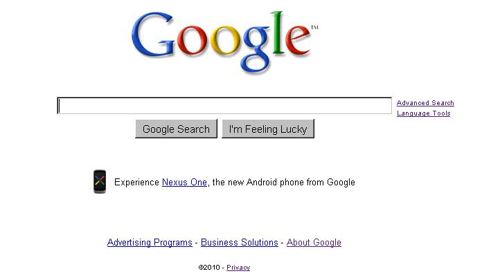 Image Promo on Google\'s Homepage