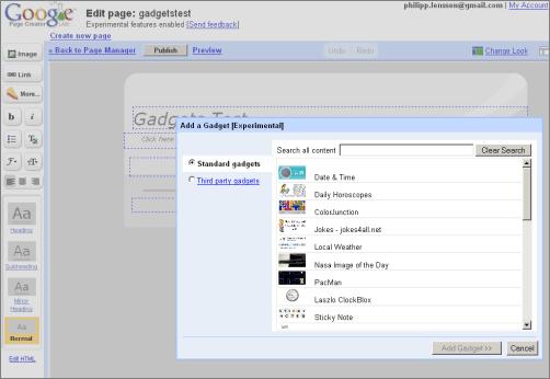Google Page Creator Gadgets