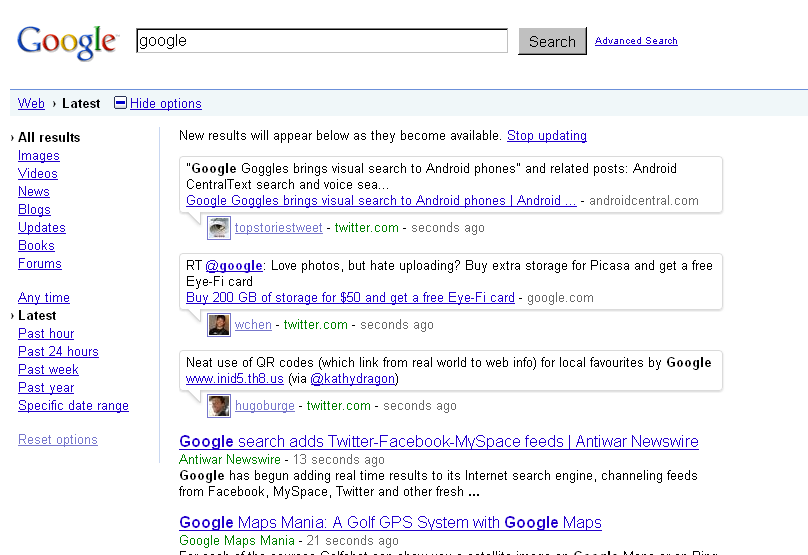 Google Real-Time Search Results