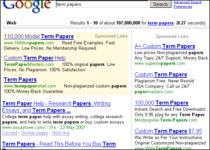 does google ban term paper ads