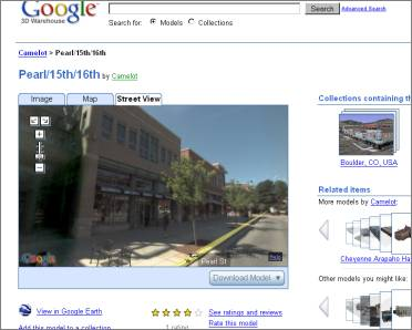 Google 3d warehouse integrates street view