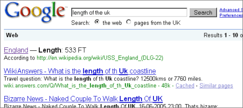 Google's Q&A says: England - Length: 533 FT