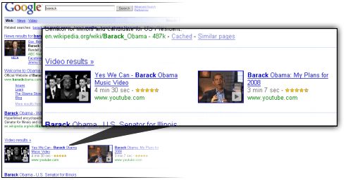 middle onebox Google Tweaks Universal Search with Horizontal Video Results