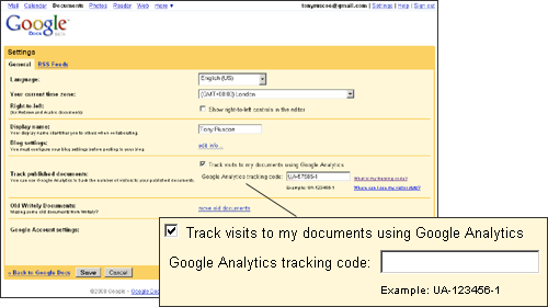 Google Docs Analytics Tracking - CC-BY-NC Tony Ruscoe