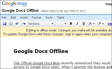 google With google docs offline editing