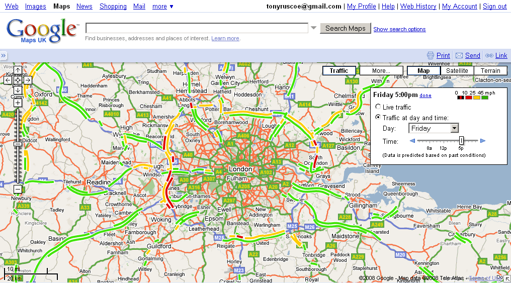 Google Maps UK Adds Traffic Information