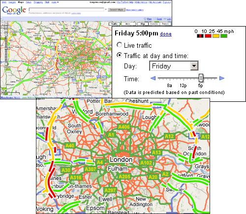 Google Maps UK Adds Traffic Information on