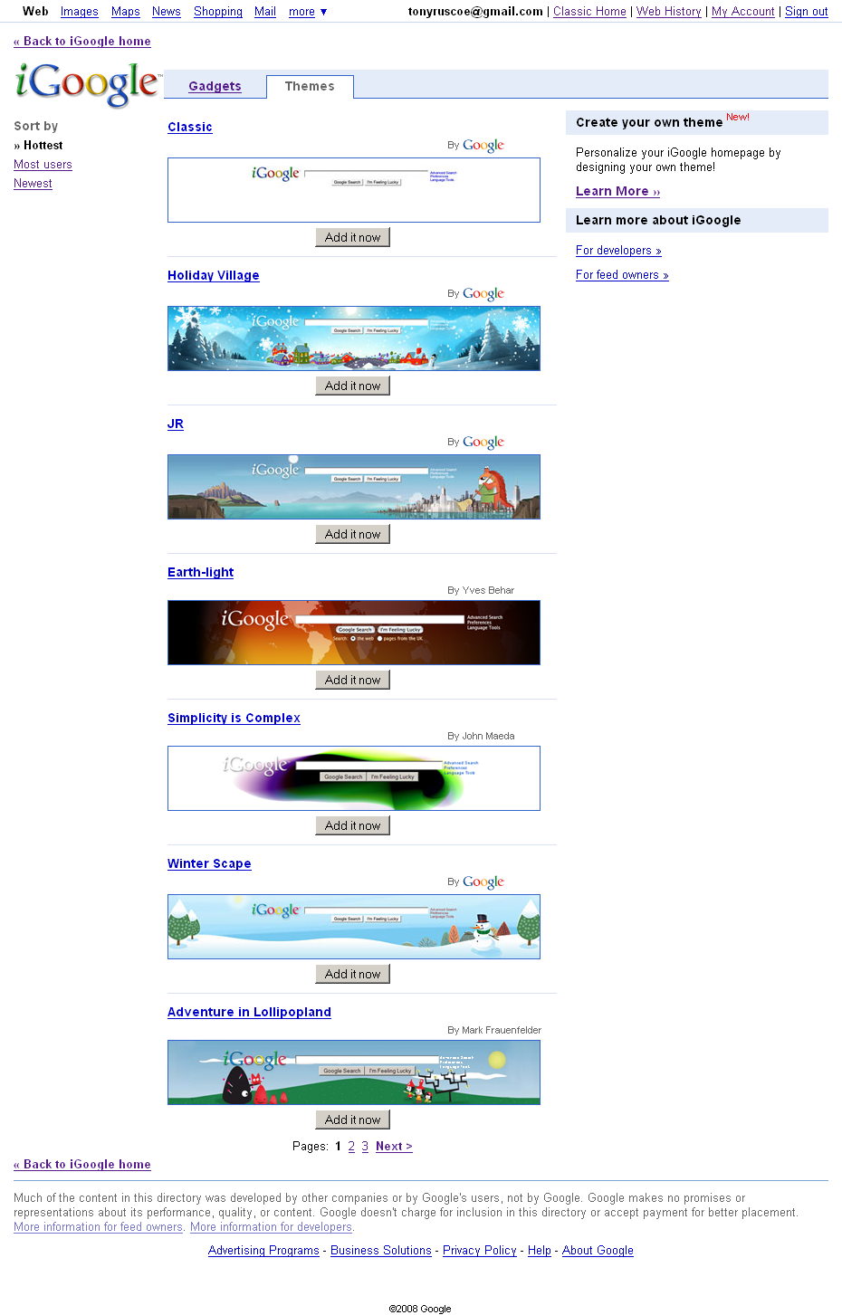 Google themes view - Not Only Does The Directory Allow You To View And Select Themes But You Can Now Also Rate Them Add Comments And View How Many Users Each One Has