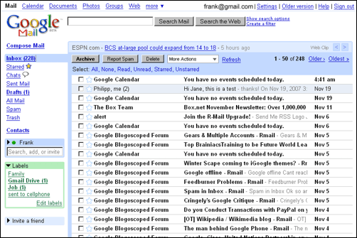 To start here s the current gmail homepage after you log in