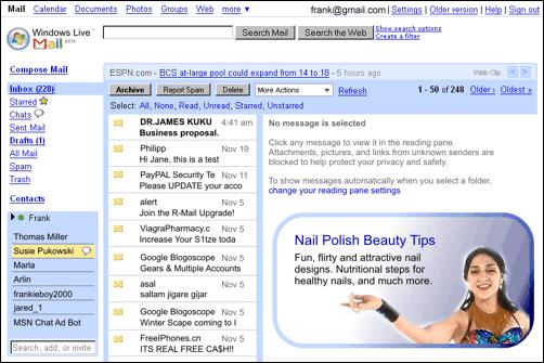 Gmail podle Microsoftu