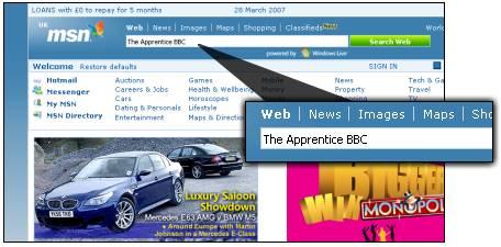 MSN: реклама в форме поиска