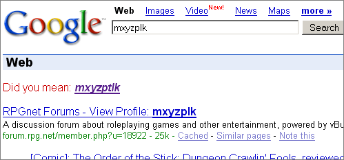[A Google spelling suggestion for 'mxyzplk'.]