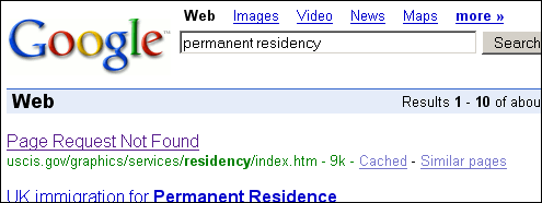 A search for [permanent residency] returns 'Page Request Not Found'