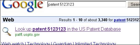 Google专利搜索One Box