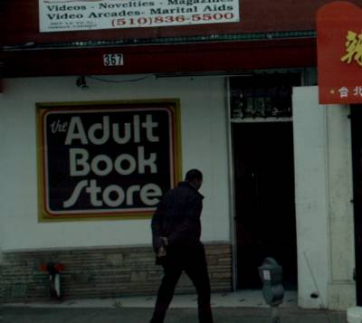 Entering an adult book store.