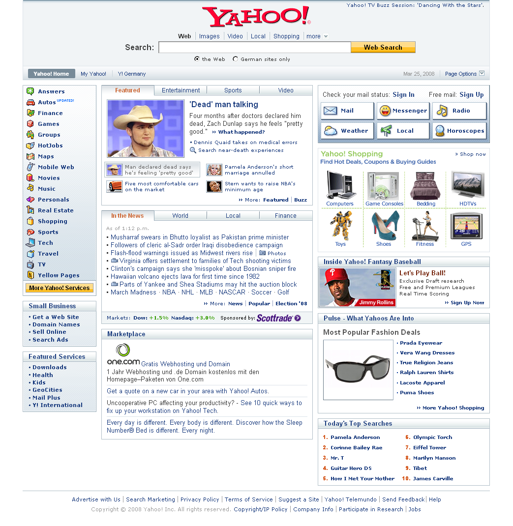 Yahoo Redesign With Centered Logo