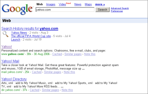 yahoo com new site result Google Changes Domain Name Search Results